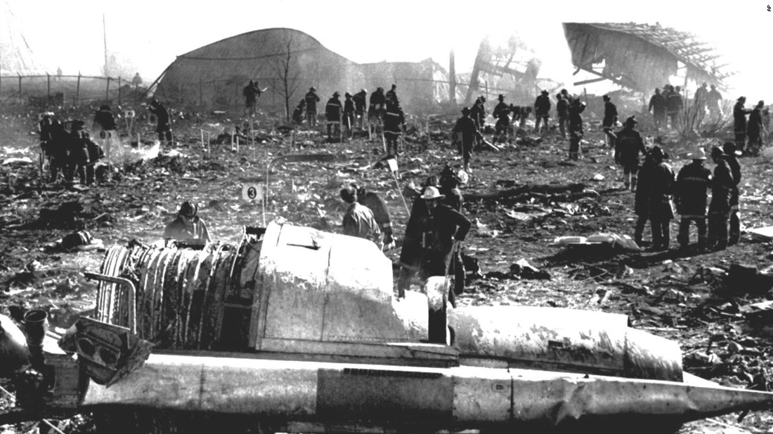Only moments after takeoff, an engine separated from American Airlines Flight 191, causing the plane to crash in a field near Chicago's O'Hare International Airport on May 26, 1979. All 271 people on board the plane -- and two people on the ground -- were killed, making it the worst aviation accident ever on U.S. soil.
