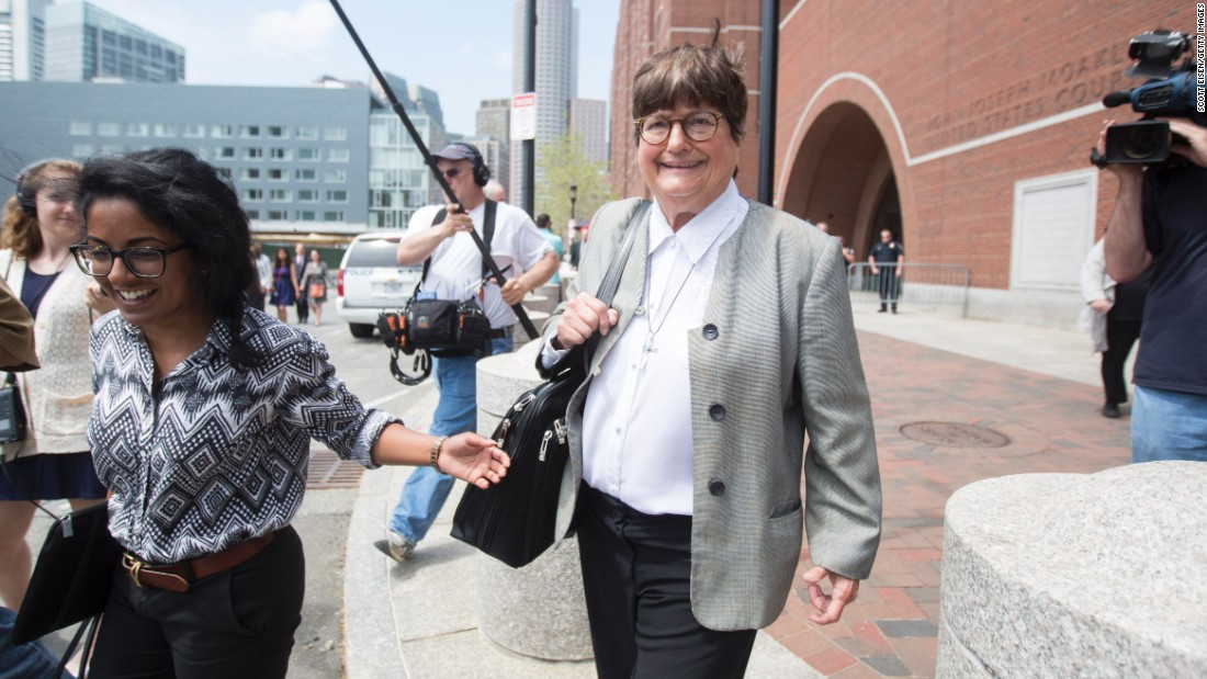 "Prejean leaves the courthouse in Boston on May 11, 2015, after <a href=""http://www.cnn.com/2015/05/11/us/boston-bombing-tsarnaev-sentencing/index.html"">testifying in the death penalty trial</a> of Boston Marathon bomber Dzhokhar Tsarnaev. She said she believed Tsarnaev was ""genuinely sorry"" for the pain and suffering he inflicted on his victims. Three people were killed and 260 were injured in the 2013 bombings."