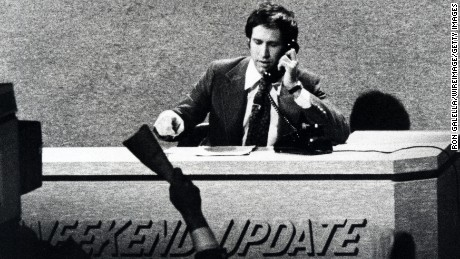 """Chevy Chase in a taping of a """"Saturday Night Live"""" episode in New York on February 14, 1976."""