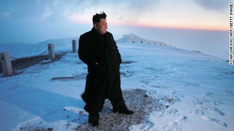 "This photo taken on April 18, 2015 and released by North Korea's official Korean Central News Agency (KCNA) on April 20, 2015 shows North Korean leader Kim Jong-Un on a snow-covered Mount Paektu during sunrise in Ryanggang Province.    - - -  REPUBLIC OF KOREA OUT AFP PHOTO / KCNA via KNS THIS PICTURE WAS MADE AVAILABLE BY A THIRD PARTY. AFP CAN NOT INDEPENDENTLY VERIFY THE AUTHENTICITY, LOCATION, DATE AND CONTENT OF THIS IMAGE. THIS PHOTO IS DISTRIBUTED EXACTLY AS RECEIVED BY AFP. ---EDITORS NOTE--- RESTRICTED TO EDITORIAL USE - MANDATORY CREDIT ""AFP PHOTO/KCNA VIA KNS"" - NO MARKETING NO ADVERTISING CAMPAIGNS - DISTRIBUTED AS A SERVICE TO CLIENTSKNS/AFP/Getty Images"