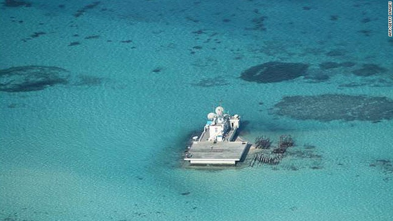 Island built onto a reef in a large-scale reclamation by China