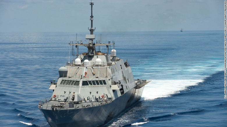 The USS Fort Worth (LCS 3) conducts patrols in international waters  of the South China Sea near the Spratly Islands as the Chinese guided-missile frigate Yancheng follows. The Fort Worth is a Freedom variant LCS. Ships of this variant are 387.6 feet in length with a beam of 57.7 feet and a displacement of 3,400 metric tons.