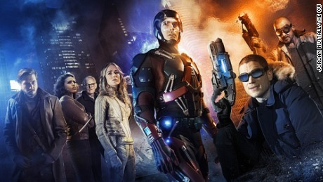 (L-R): Arthur Darvill as Rip Hunter, Ciara Renee as Kendra/Hawkgirl, Victor Garber as Professor Martin Stein, Caity Lotz as White Canary, Brandon Routh as Ray Palmer/Atom, Wentworth Miller as Leonard Snart/Captain Cold, and Dominic Purcell as Mick Rory/Heat Wave.