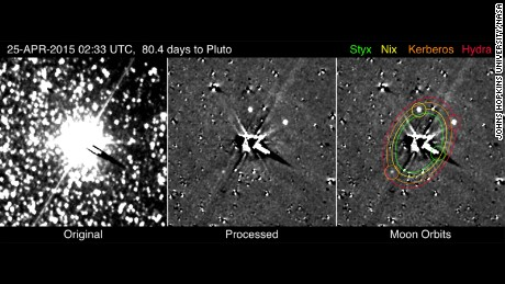 New Horizons spots Pluto's smallest and faintest moons, Kerberos and Styx, between April 25 to May 1, 2015. New Horizons is now within sight of all the known members of the dwarf planet's system.