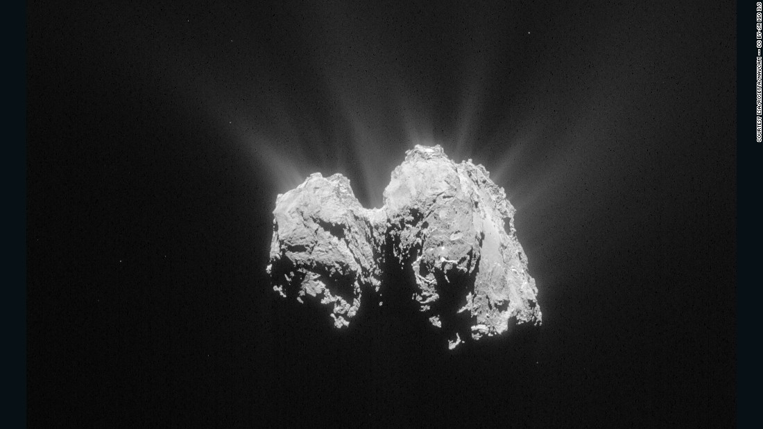 The Rosetta Mission, now into its 11th year, is tracking Comet 67P/Churyumov-Gerasimenko on its orbit around the sun. This image was taken on May 3, 2015 at a distance of about 84 miles (135 km) from the comet's center.