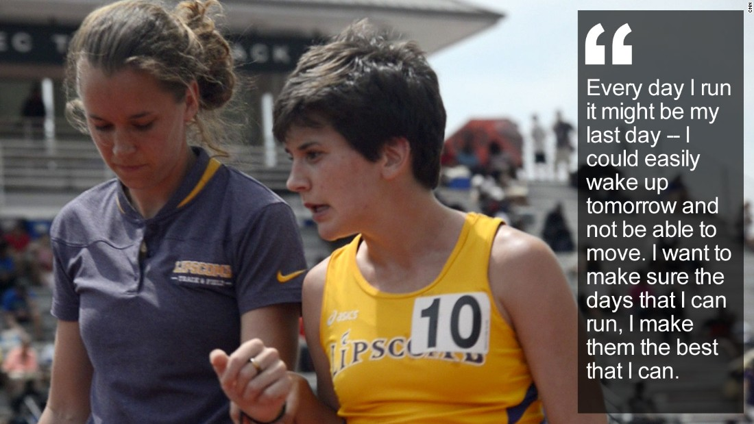 """The college student is a runner unlike any other -- every time she competes in a race, she knows she'll collapse in a sobbing heap at the finish line, with numb legs. <a href=""""/2015/05/20/sport/kayla-montgomery-multiple-sclerosis-athletics-feat/index.html"""" target=""""_blank"""">Read more</a>"""