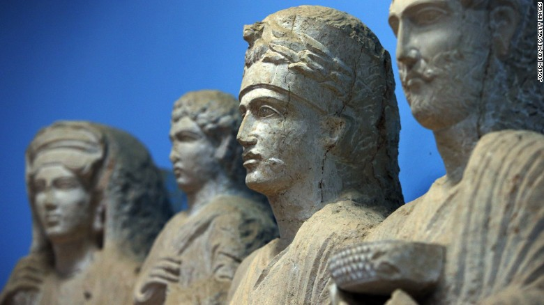 A sculpture depicting a princess from Palmyra is displayed among other art at the city's museum.