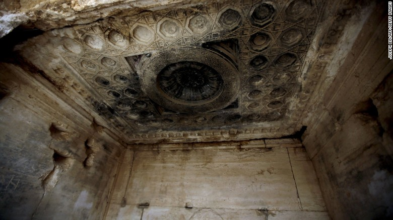 Inside the Temple of Baal, which has been damaged by artillery shelling.