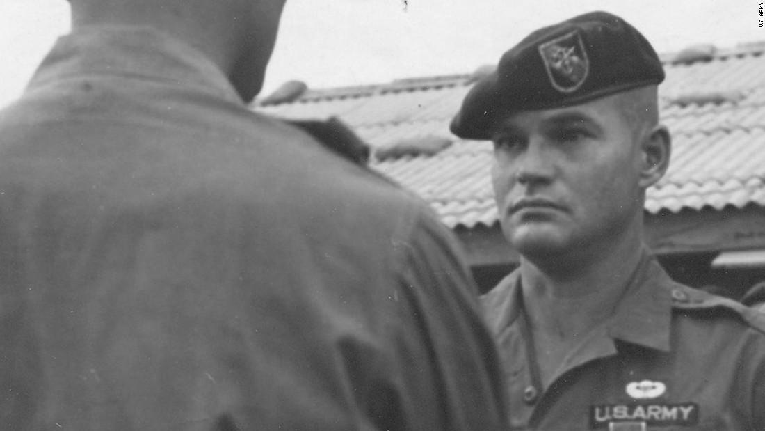 Army Command Sgt. Maj. Bennie G. Adkins is cited for his action at Camp A Shau in Vietnam in 1966, where the Army says he killed 135 to 175 enemy troops during a battle.