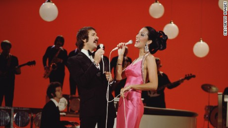 "LOS ANGELES - JANUARY 1: Entertainers Sonny Bono (left) and Cher perform on their CBS television program ""The Sonny & Cher Comedy Hour"" in 1973. (Photo by CBS via Getty Images) *** Local Caption *** Sonny Bono;Cher]"