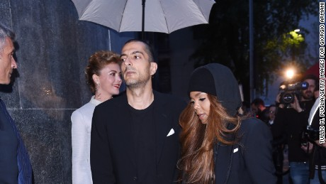 Janet Jackson and husband Wissan Al Mana attend a fashion industry dinner in Milan, Italy, last month.