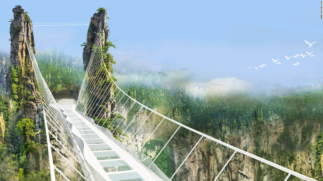 Also in Hunan Province, another glass-bottomed suspension bridge is planned for the Zhangjiajie Great Canyon area. When completed, the structure will be the world's highest and longest glass bridge.