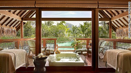 While most treatments can be performed in guest bungalows, the spa's spacious Kahaia suite, with its outdoor terrace, soaking bath, and views over Mount Otemanu, is hard to beat.