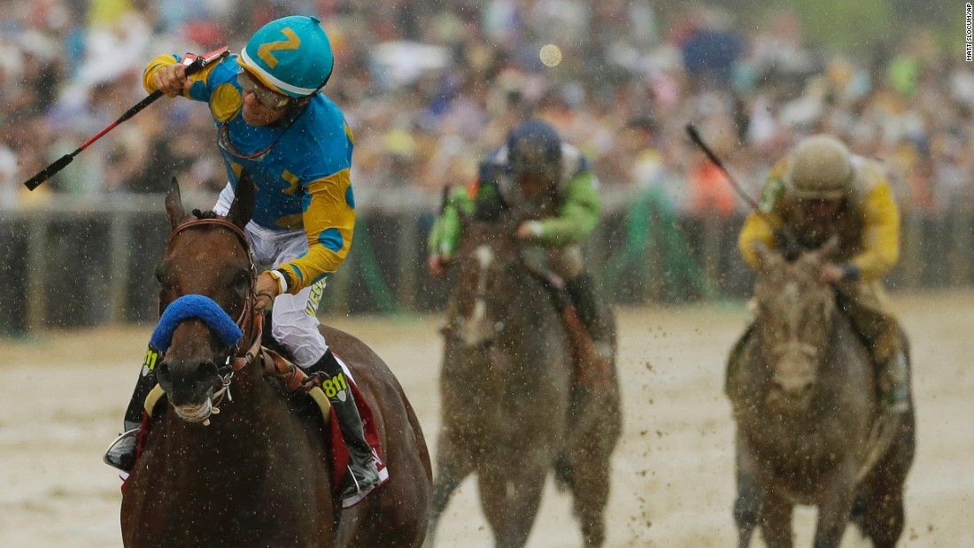 "American Pharoah, ridden by Victor Espinoza, wins the Preakness Stakes in Baltimore on Saturday, May 16. American Pharoah would become the 12th horse in history to <a href=""http://www.cnn.com/2012/06/07/worldsport/gallery/triple-crown-winners/ind"">win the Triple Crown</a> -- and the first since 1978 -- if he wins the Belmont Stakes on Saturday, June 6."