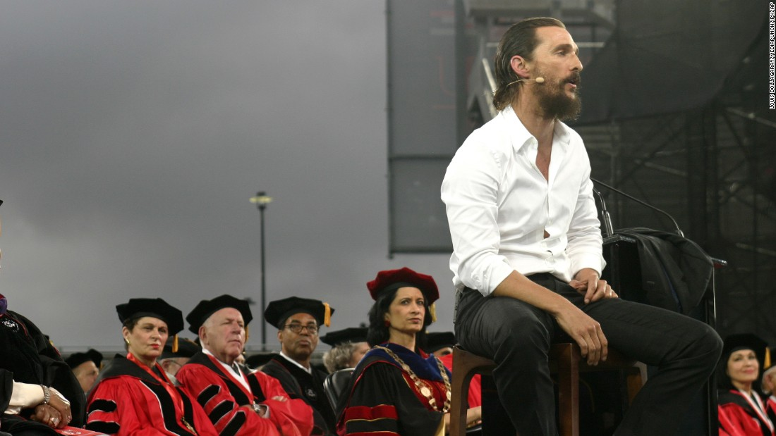 "Actor Matthew McConaughey was the speaker at the University of Houston's commencement ceremony on May 15. The university was <a href=""http://www.chron.com/local/education/campus-chronicles/article/UH-to-pay-McConaughey-135-000-actor-will-donate-6171143.php"" target=""_blank"">initially reluctant to release what McConaughey would be paid</a> for the appearance, The Houston Chronicle reported, but eventually shared the details: $135,000, plus travel fees and commission for his agency. McConaughey is expected to give the money to his jk livin Foundation."