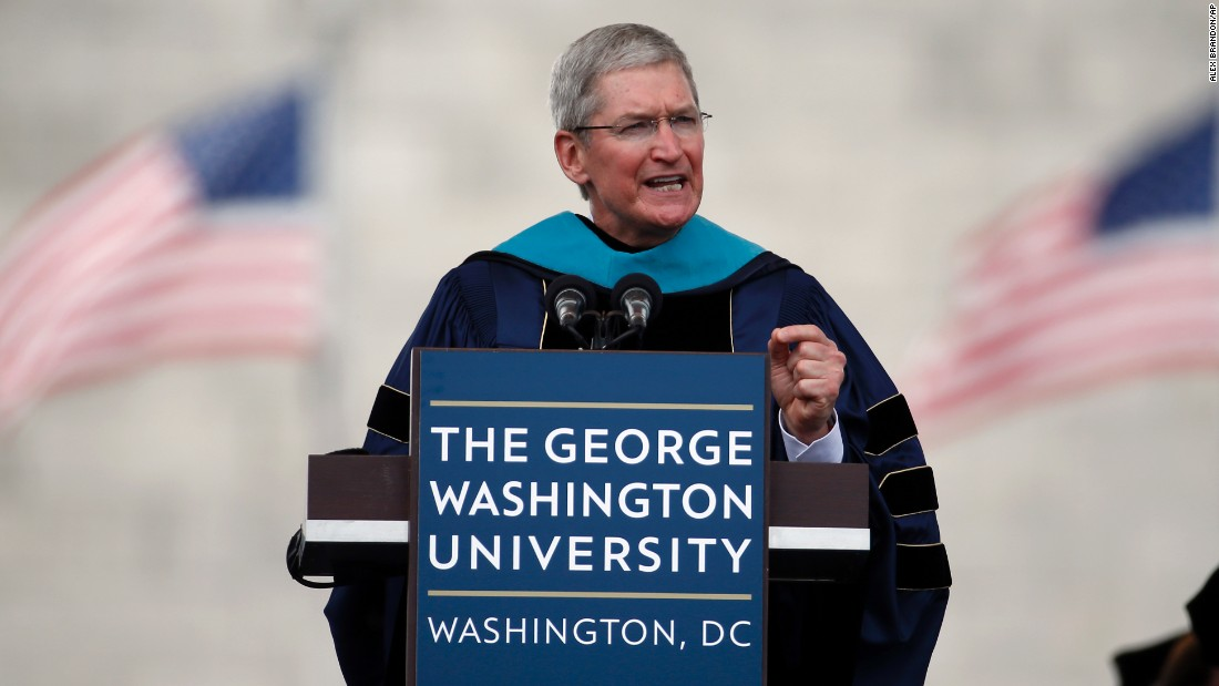 "Apple CEO Tim Cook <a href=""http://money.cnn.com/2015/05/17/technology/tim-cook-gwu-graduation/"">delivered the commencement address at George Washington University</a> in Washington on May 17."