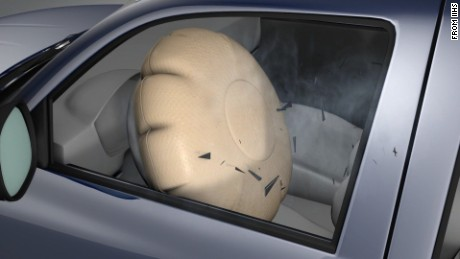 This graphic from the Insurance Institute for Highway Safety shows an airbag expanding, shooting shrapnel toward the driver.