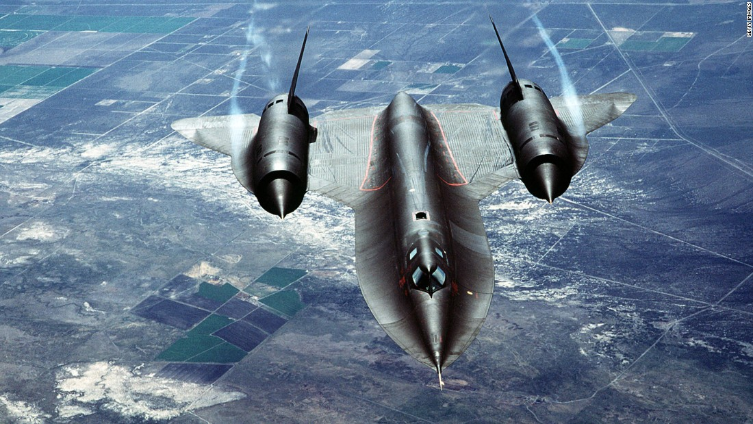 "A U.S. Air Force SR-71A, also known as the ""Blackbird,"" is put through its paces during a test flight over Beale Air Force Base in California. The aircraft, built by Lockheed, was used for strategic reconnaissance for almost 24 years before the fleet was retired in 1990."