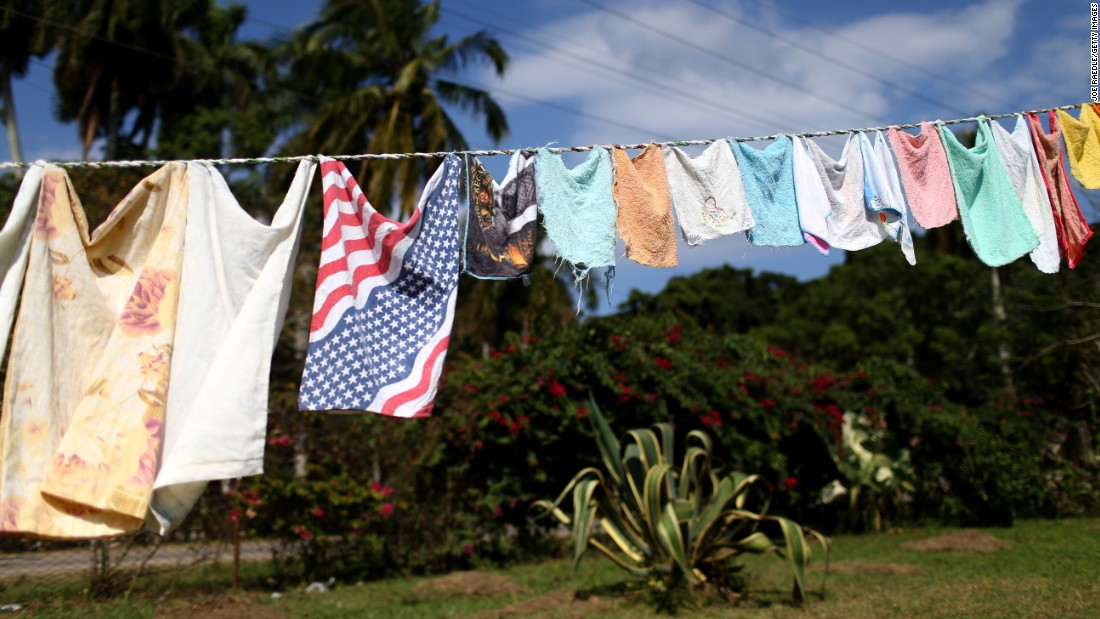 A handkerchief in the colors of the American flag hangs on a clothesline in Havana in February.
