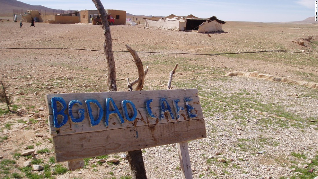 A sign hangs on the side of the road toward Palmyra, which is a UNESCO World Heritage Site.