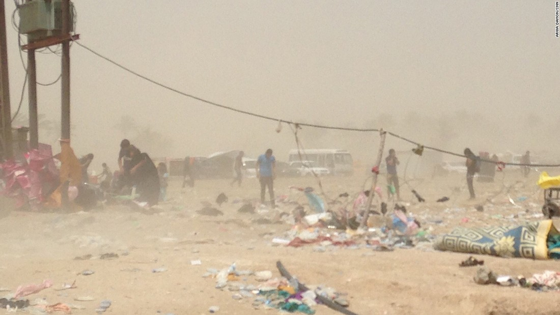 A sandstorm engulfs Bzebiz Bridge on Friday, May 22. Iraqi authorities closed the bridge, which is the only safe passage from Anbar province to Baghdad province. Officials did not give CNN a clear reason why the bridge was closed.
