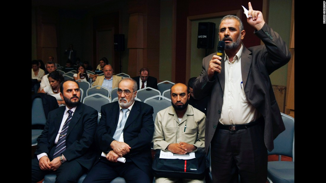 Jamal al-Wadi of Daraa speaks in Istanbul on September 15, 2011, after an alignment of Syrian opposition leaders announced the creation of a Syrian National Council -- their bid to present a united front against al-Assad's regime and establish a democratic system.
