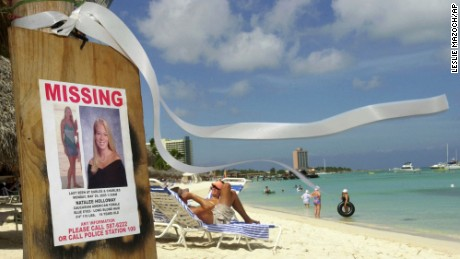 Natalee Holloway, a high school graduate of Mountain Brook, Alabama who disappeared while on a graduation trip to Aruba on May 30, 2005, on Palm Beach where tourists sunbathe in Aruba.