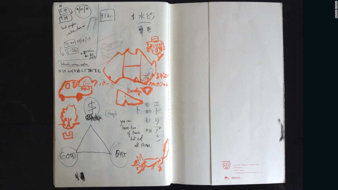 When traveling to places where he doesn't speak the language, Hogan fills the back of his notebook with diagrams explaining where he's from and what he's trying to find.