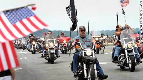 People on motorcycles participate in Rolling Thunder, an annual motorcycle rally in Washington DC, to raise awareness of the plight of prisoners of war and soldiers still missing in action, May 29, 2011, during Memorial Day weekend ceremonies. The holiday honors US war veterans.