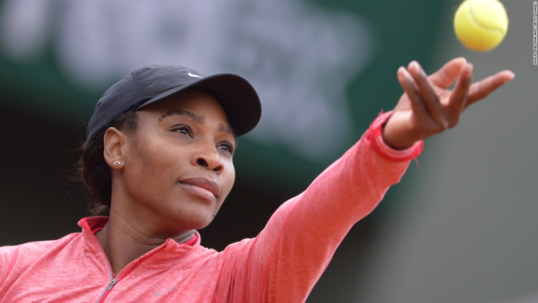 The world No. 1 serves during a training session ahead of the 2015 French Open in Paris.