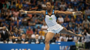 Angelo Assumpcao of Brazil competes on the Floor during day two of the Gymnastics World Challenge Cup Brazil 2015 at Ibirapuera Gymnasium on May 3, 2015.