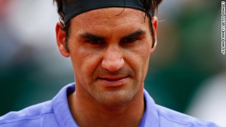 Roger Federer of Switzerland looks on during his Men's Singles match against Alejandro Falla of Colombia on day one of the 2015 French Open at Roland Garros on May 24, 2015 in Paris, France. (Photo by Julian Finney/Getty Images)