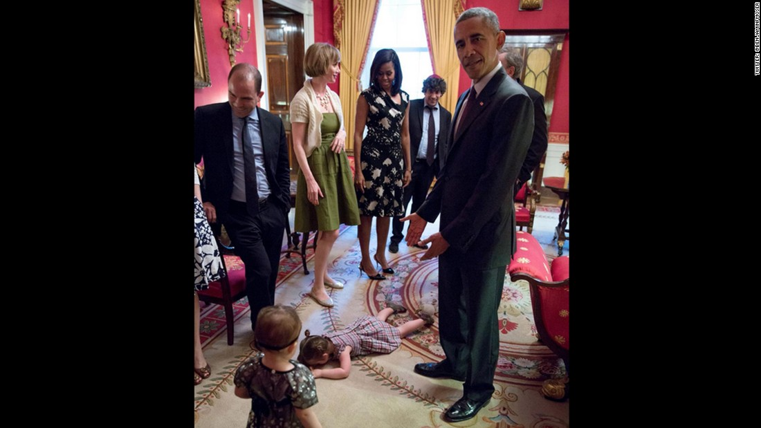 "Obama reacts to Claudia Moser, journalist Laura Moser's daughter, who <a href=""http://www.cnn.com/2015/05/25/politics/president-obama-trantrum-kid-photo/"">threw a tantrum at the White House</a> while attending Passover dinner in April."