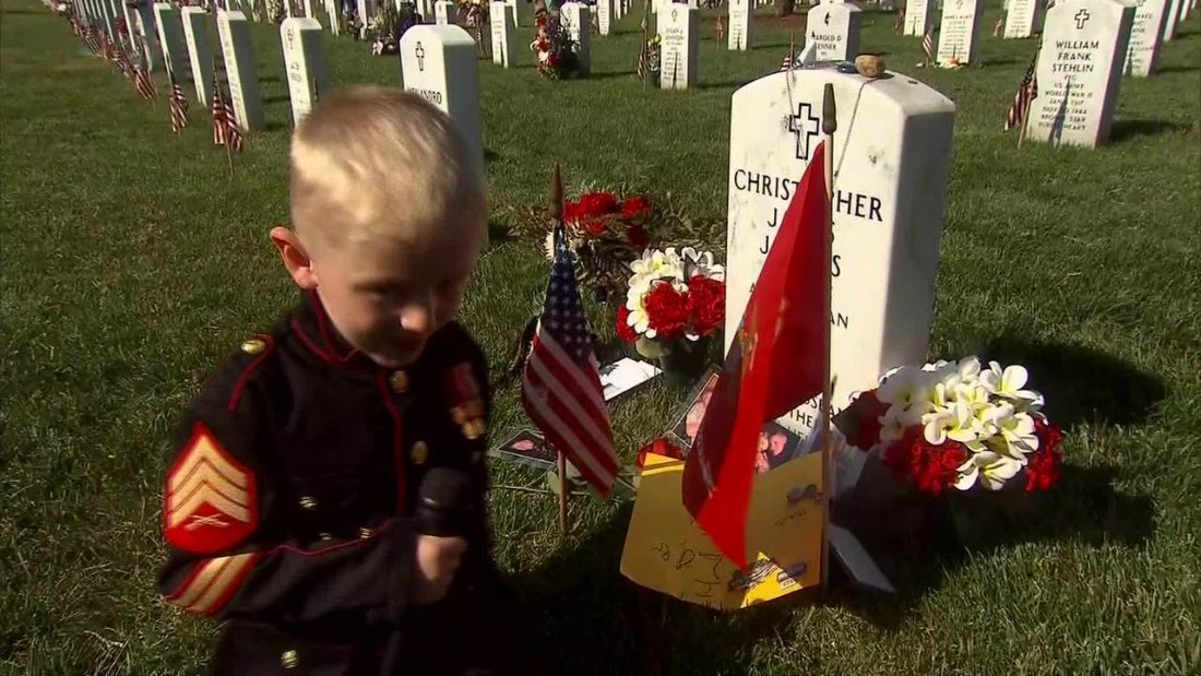 Son of Marine sergeant reads letter to dad at Arlington