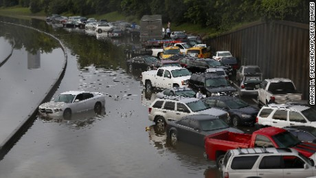Vehicles left stranded on a flooded Interstate 45 in Houston, Texas on May 26.