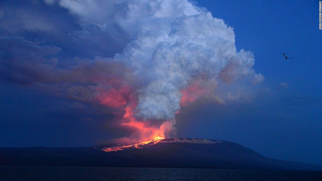 "The Wolf volcano at Isabela Island -- the largest of the Galapagos Islands west of mainland Ecuador -- erupts Monday, May 25, <a href=""http://www.cnn.com/2015/05/26/americas/galapagos-volcano-erupts/"">for the first time in 33 years.</a>"