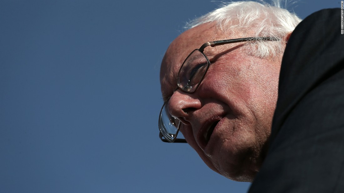 Democratic presidential candidate U.S. Sen. Bernie Sanders (I-VT) delivers remarks while officially announcing his candidacy for the U.S. presidency during an event at Waterfront Park May 26 in Burlington, Vermont.
