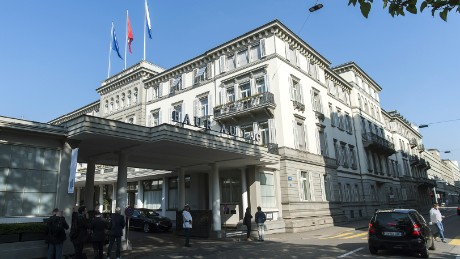 A general View of the Hotel Baur au Lac where Swiss authorities conducted an early-morning operation on May 27, 2015 to arrest several top soccer officials and extradite them to the United States on federal corruption charges. FIFA said Wednesday it was seeking to clarify the situation after six football officials were arrested in Zurich on the request of US authorities, suspected of receiving bribes worth millions of dollars.