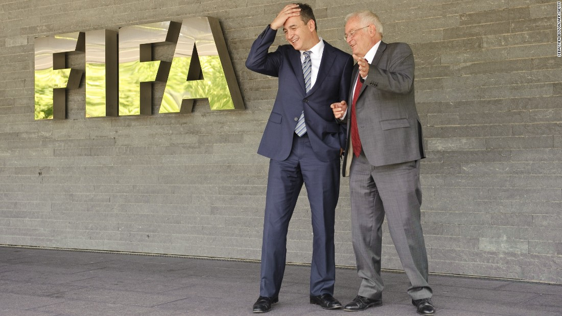 "Blatter <a href=""http://cnn.com/2012/07/17/sport/football/football-fifa-ethics-corruption/"">announces that former U.S. attorney Michael J Garcia and German judge Hans-Joachim Eckert (pictured) have joined FIFA</a> to probe allegations of wrongdoing. Their first task will be to investigate a Swiss court document after an <a href=""http://cnn.com/2012/07/11/sport/football/football-havelange-teixeira-fifa-bribes/"">investigation into alleged illegal payments made by FIFA marketing partner ISL to former FIFA president Joao Havelange</a> and former executive committee member Teixeira. However, they will also investigate old cases -- including the process surrounding the decision to award the 2018 and 2022 World Cups to Russia and Qatar. Meantime, Bin Hamman is again suspended over new corruption allegations by the Asian Football Confederation (AFC), which he used to lead. Bin Hammam says he is innocent but <a href=""http://www.fifa.com/governance/news/y=2012/m=12/news=mohamed-bin-hammam-resigns-from-football-banned-for-life-1973422.html"" target=""_blank"">in December 2012 he resigns all his football positions after a FIFA report finds him guilty of violating the conflict of interest clauses </a>in its Code of Ethics and bans him from all football-related activity for life."