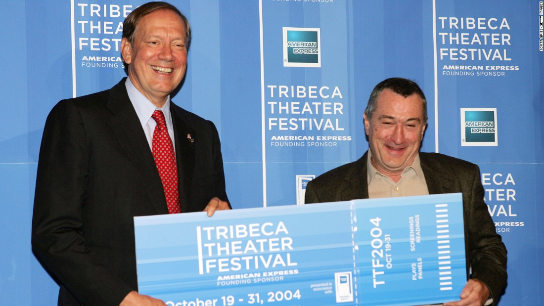 Pataki first won the office in 1994 by defeating liberal icon Mario Cuomo. In this photo, Pataki, left, and actor Robert De Niro, right, pose during a news conference to kick off the first annual Tribeca Theater Festival at Tribeca Cinemas October 13, 2004 in New York City.