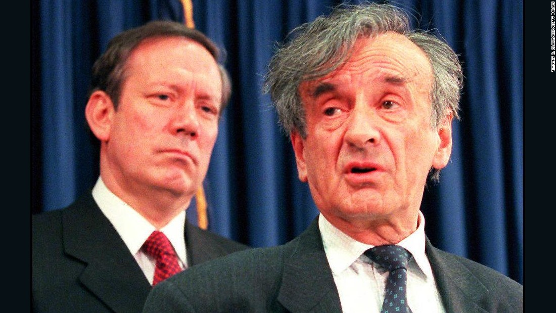 Nobel Prize winner and Holocaust survivor Elie Wiesel, right, and Pataki, left, announce February 6, 1997 that the governor is sending the state banking superintendent to Switzerland to meet with bank officials as part of a probe into actions during World War II.