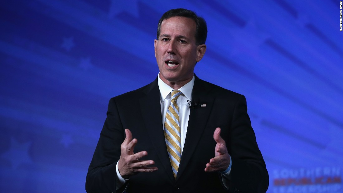 "Former U.S. Sen. Rick Santorum of Pennsylvania <a href=""http://www.cnn.com/2015/05/27/politics/rick-santorum-2016-presidential-announcement/"" target=""_blank"">announced</a> his candidacy for the Republican nomination from a factory on the outskirts of Pittsburgh on May 27. Santorum, who ran unsuccessfully in 2012, is widely considered the most socially conservative candidate who will enter the race. <br /><br />""As middle America is hollowing out, we can't sit idly by as big government politicians make it harder for our workers and then turn around and blame them for losing jobs overseas. American families don't need another President tied to big government or big money,"" he said during his kickoff rally."