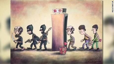pkg amanpour pleitgen iran isis cartoon contest_00005018