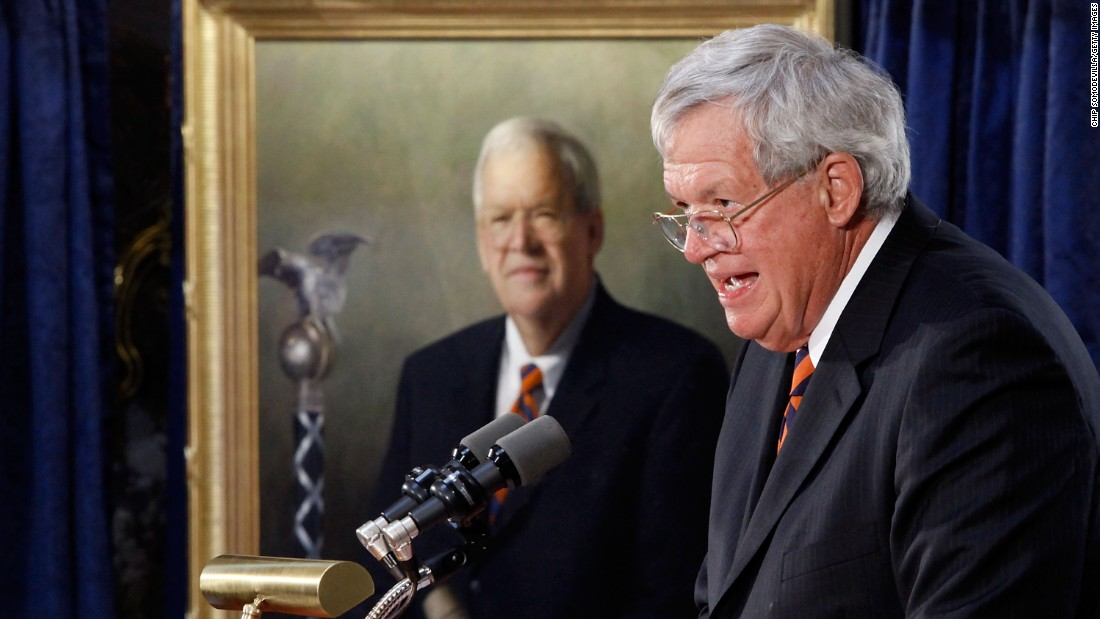 "Federal officials indicted former Speaker of the House <a href=""http://cnn.it/1J5XO2p"" target=""_blank"">Dennis Hastert</a> on May 28 on charges he lied to the FBI as he sought to pay off a subject to ""cover up past misconduct."" On Thursday, October 15, the U.S. Attorney's office in Chicago said <a href=""http://www.cnn.com/2015/10/15/politics/dennis-hastert-plea-deal/index.html"" target=""_blank"">Hastert plans</a> to plead guilty in the case."