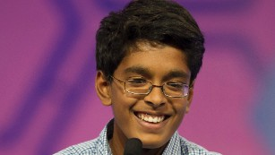 "Gokul Venkatachalam, 14, of St. Louis, correctly spells the word ""cocozelle"" in the final round of the Scripps National Spelling Bee in Oxon Hill, Maryland, Thursday, May 28. He was co-winner of the 2015 bee. The last word he spelled was ""nunatak."""