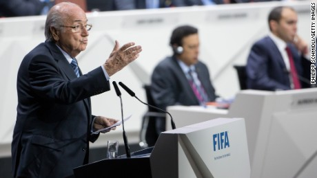 Caption:ZURICH, SWITZERLAND - MAY 29: FIFA President Joseph S. Blatter speaks during the 65th FIFA Congress at Hallenstadion on May 29, 2015 in Zurich, Switzerland. (Photo by Philipp Schmidli/Getty Images)