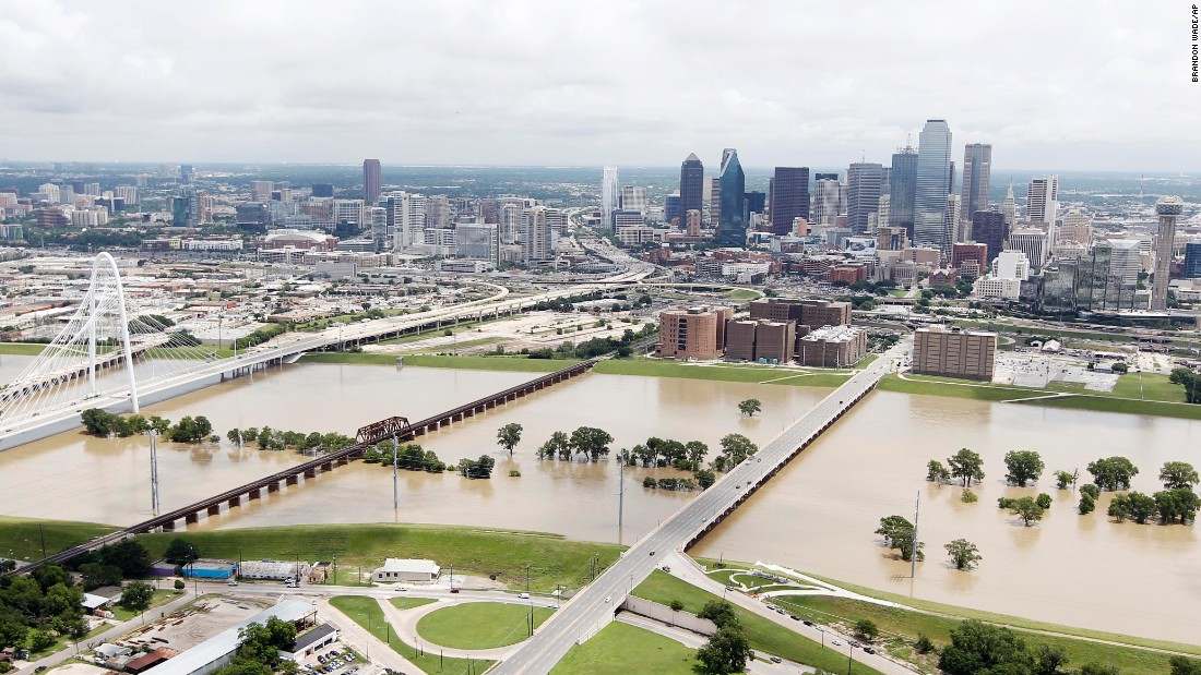 The Trinity River swells west of downtown Dallas on Friday, May 29.
