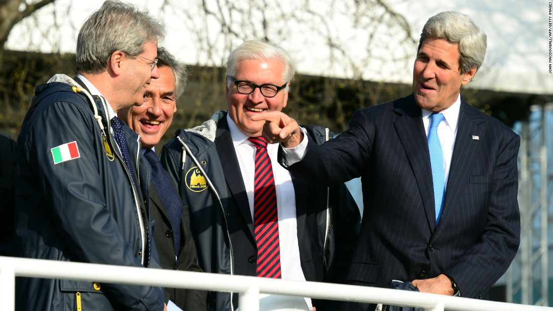 Italian Foreign Minister Paolo Gentiloni, from left, Luebeck's Mayor Bernd Saxe, German Foreign Minister Frank-Walter Steinmeier and Kerry take a boat cruise during a meeting of G-7 foreign ministers in Luebeck, Germany, on April 15. The foreign ministers met to discuss global political and security issues ahead of a G-7 summit to take place in June 2015 in southern Germany.