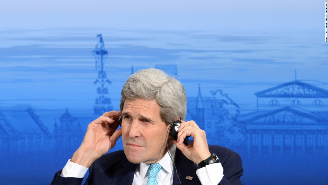 """Kerry listens to a talk during the 51st Munich Security Conference in Munich, Germany, on February 8. The Ukraine conflict, ISIS jihadists and the wider """"collapse of the global order"""" occupied the world's security community at the annual meeting."""