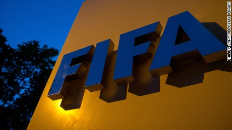ZURICH, SWITZERLAND - JUNE 02: A FIFA logo sits on a sign at the FIFA headquarters on June 2, 2015 in Zurich, Switzerland. Joseph S. Blatter resigned as president of FIFA. The 79-year-old Swiss official, FIFA president for 17 years said a special congress would be called to elect a successor. (Photo by Philipp Schmidli/Getty Images)
